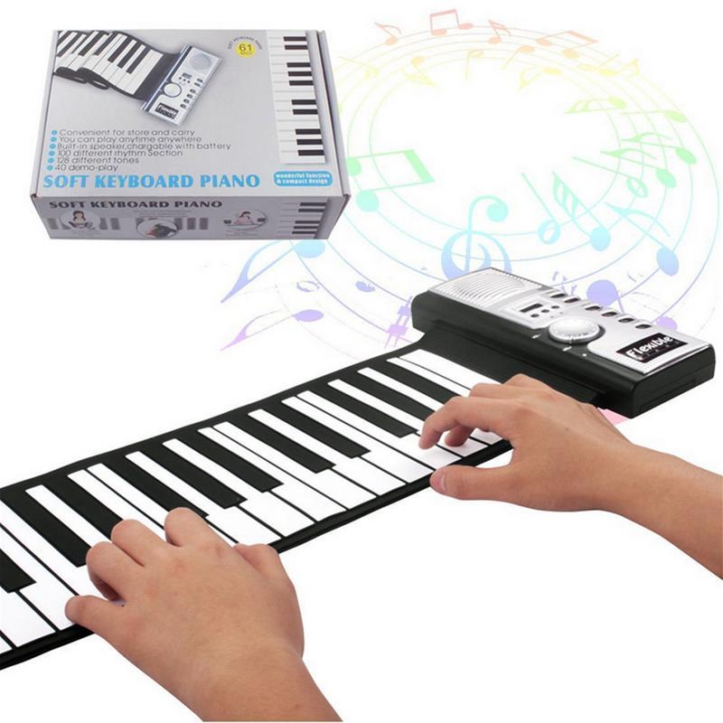 Pour 61-Key électronique orgue main rouleau Piano avec haut-parleur pour enfants adulte Silicone électronique orgue clavier illumination