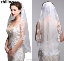 Модные Кружева Края С Расческой Фата Один Слой Свадебные Короткие На Складе Свадебные Невесты