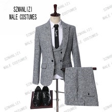 Dernières Manteau Pantalon Designs Costumes Hommes 2019 Custom Made  Formelle Marié Gris Costume Slim Fit Affaires fbf7fc4ebe0