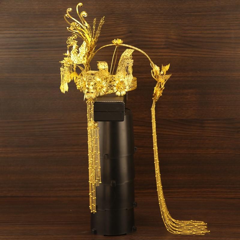 T18 Style chinois coiffure pour future mariée à la main Tassles dorés Phoenix Coronet classique accessoires de mariage boucles d'oreilles couronne de mariée-in Parure de bijoux pour mariée from Bijoux et Accessoires    3