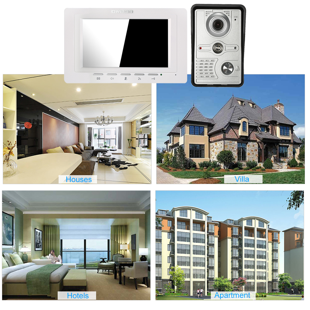 OWSOO 7 inch Wired Doorbell intercom with Rainproof Camera and Remote Unlock 5