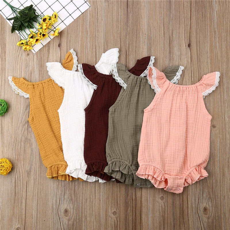 Baby Fly Sleeves Lace Bodysuit Children Baby Girls Jumpsuit 2019 Summer Cotton Sleeveless Overall Baby Boy Girls Casual Clothes