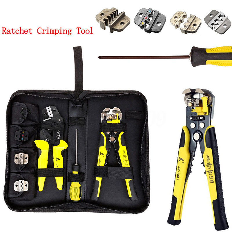 цена на 4 In 1 Ratchet Terminals Crimping Pliers Wire Strippers Tool Kit