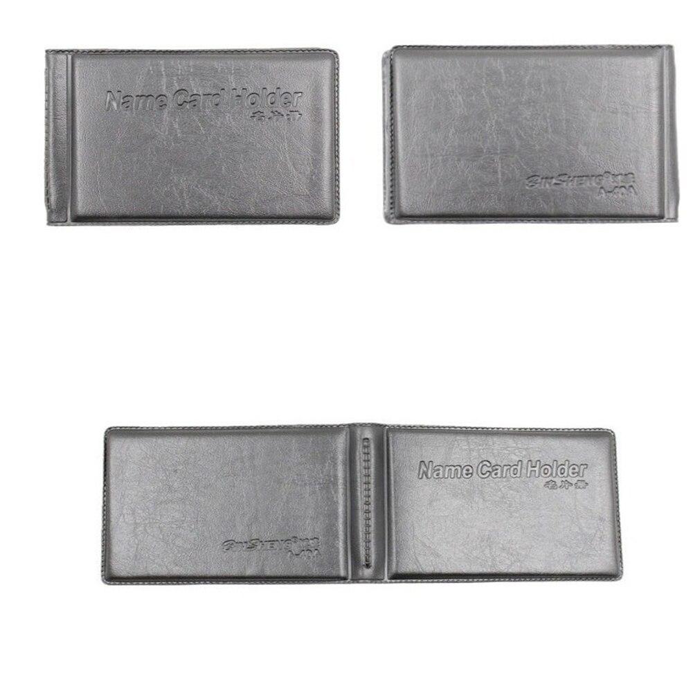 40 Card Leather Men Women Business Name ID Credit Card Holder Vintage Transparent Visible Wallet Book Case Pocket Carteira Mujer