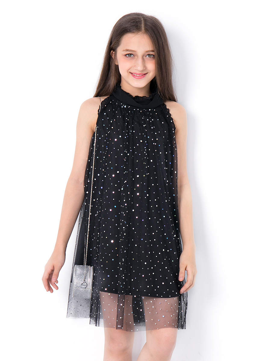 Fashion Girls Sleeveless Dress Summer Dress 2019 Teenage Girl Clothing Sequins Kids Casual Dresses 6 8 10 11 12 13 14 Years photo shoot