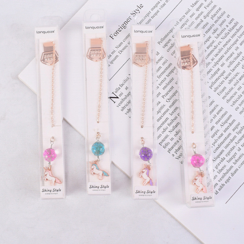 Bookmark New Arrival Unicorn Bookmark Cute Flowers Ball Pendant Metal Book Marks For Girls Gifts Office School Supplies Korean Stationery