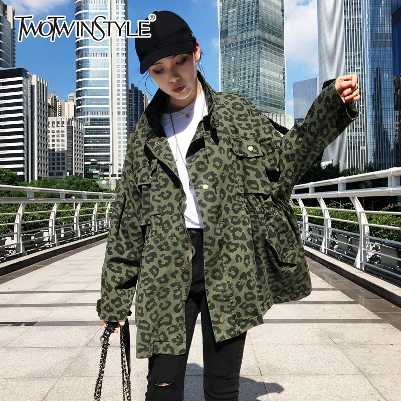 TWOTWINSTYLE Leopard Print   Basic     Jackets   For Women Stand Collar Long Sleeve Drawstring Coats Female 2019 Spring Harajuku Fashion