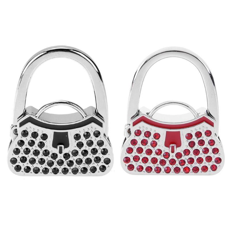 Purse Handbag Hanger Handbag Hook Portable Folding Bag Holder Table Hook Crystal Rhinestone Decor handbag