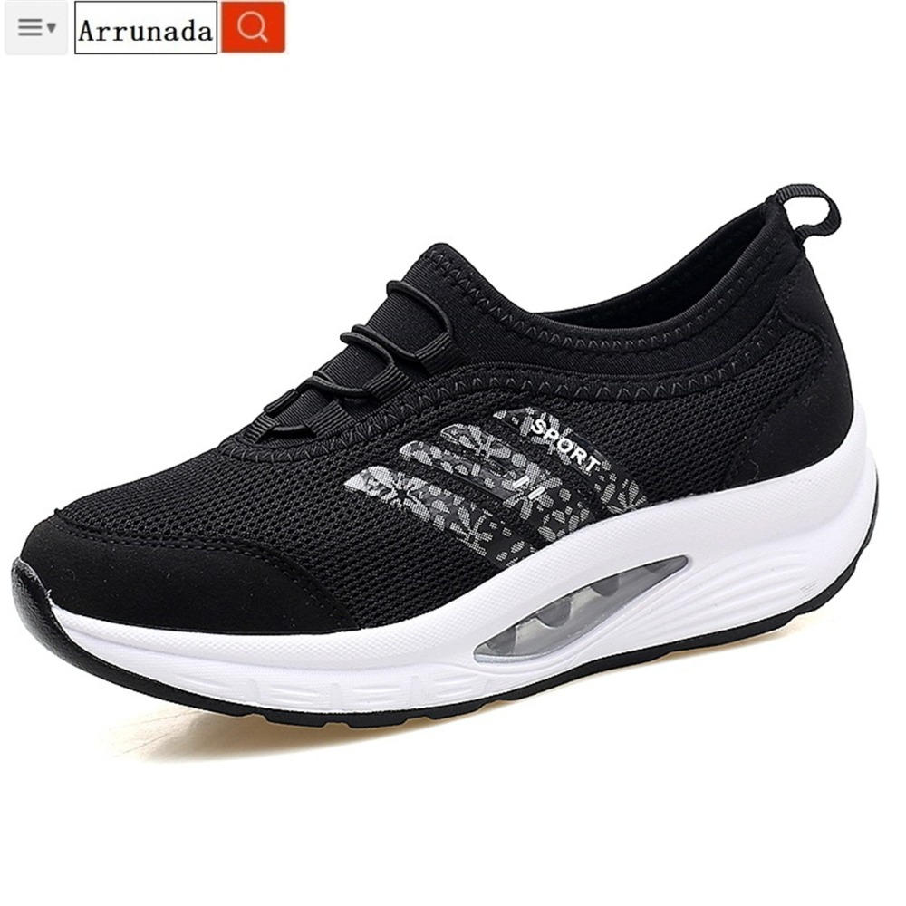 2019 Spring Sneakers Lady Black Mild Breathable Mesh Girls Sneakers Sneakers Vulcanize Girls Informal Shoe For Lady Arrunada