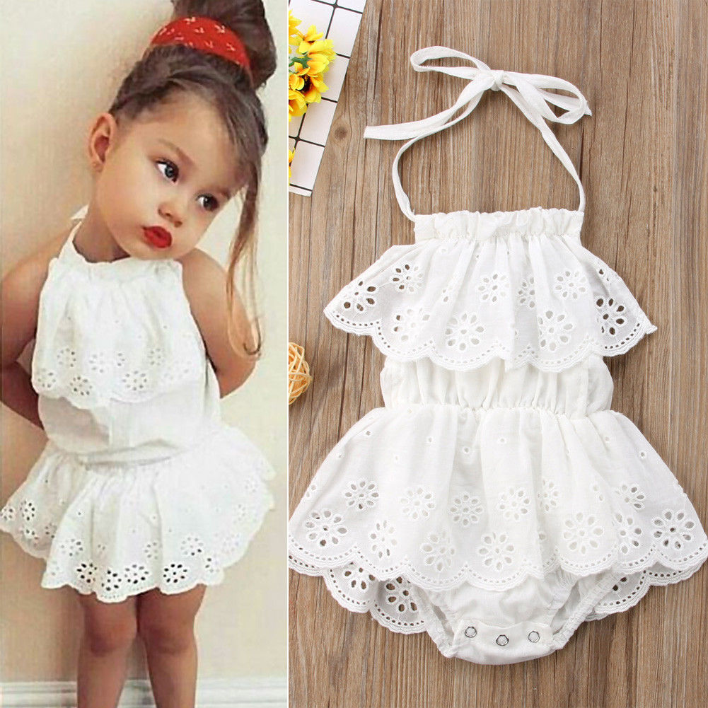 2019 Princess Newborn Baby Bodysuits Toddler Girls Backless Lace Tutu Jumpsuits Dress Outfits Infant Kids Cotton Costumes