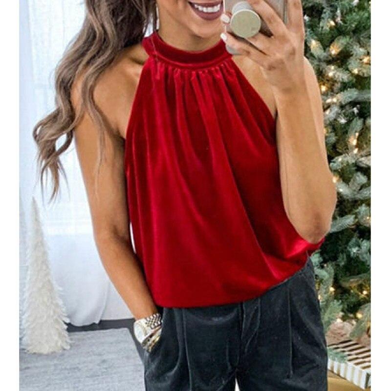 2019 Women Autumn Halter Neck OL   Tank   Casual Sleeveless Velour T-Shirt Vest arrival High Street   Top