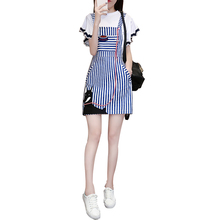 Shoulder-Straps Two-Piece Clothing Set Women 2019 Summer Dress & Short Sleeves Stripes T Shirt Suit Dresses Casual S-XXL цена