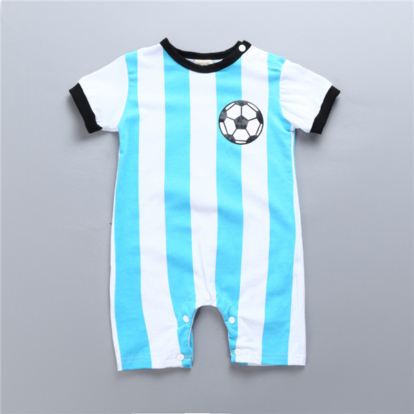 New arrival Baby Football   Rompers   Messi Sport Newborn Baby Jumpsuits Toddler Sport Striped Summer Roupas Bebes Infant Clothes