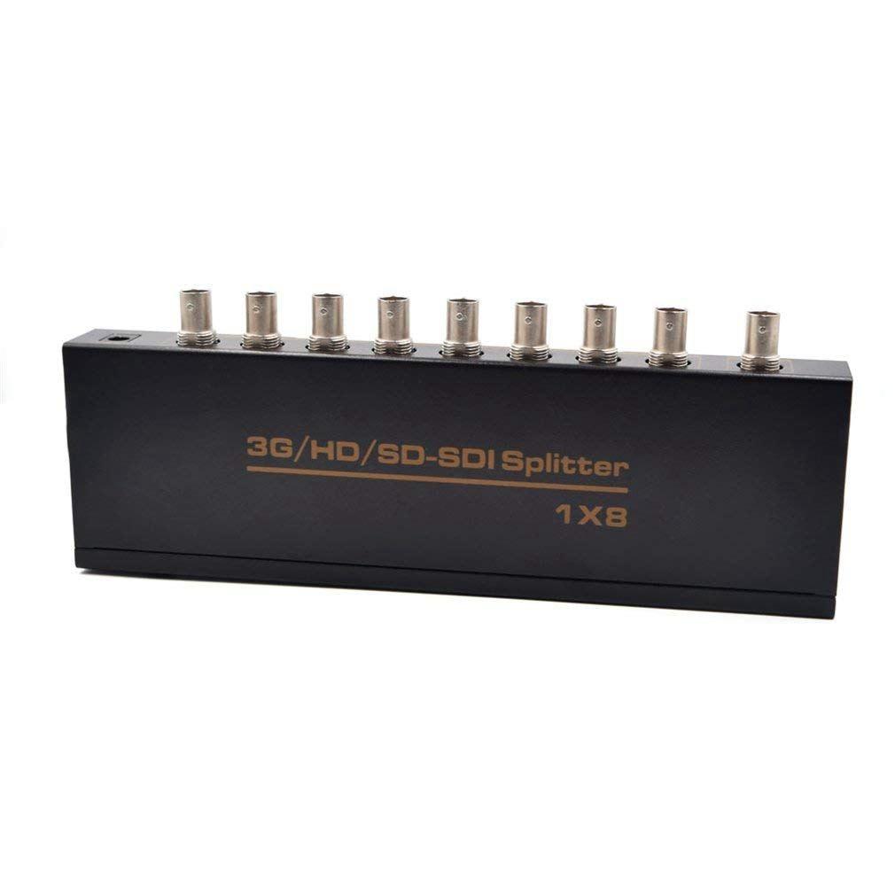 HOT-SDI Splitter 1x8 Supports SD-SDI, HD-SDI, 3G-SDI Up To Long Distances Display (1 Input 8 Outputs) US Plug
