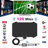 Hot 120 Miles Antena Digital HDTV Indoor HD TV Antenna with Amplifier Signal Booster TV Radius Surf Fox Antena Antennas Aerial