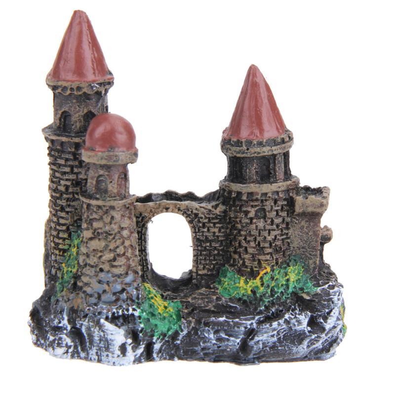 Resin Cartoon Castle Aquariums Decorations Castle Tower Ornaments Fish Tank