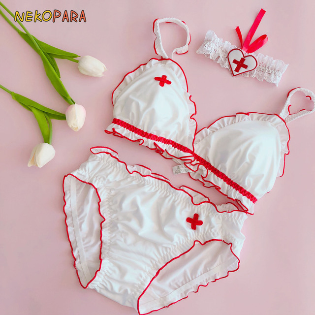 c9c13fe8e2 Nurse Theme Red Cross Cute Japanese Bra   Panties   NeckRingSet Wirefree  Soft Underwear Sleep Intimates