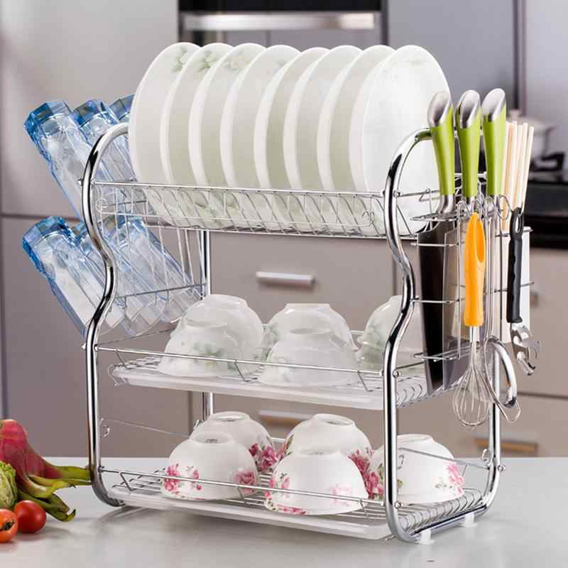 Drying Three - Layer Chrome Plate Drain Rack Kitchen Storage Rack With  Drainage Board Cutlery Cup Dish Racks 3-Tier Dishrack
