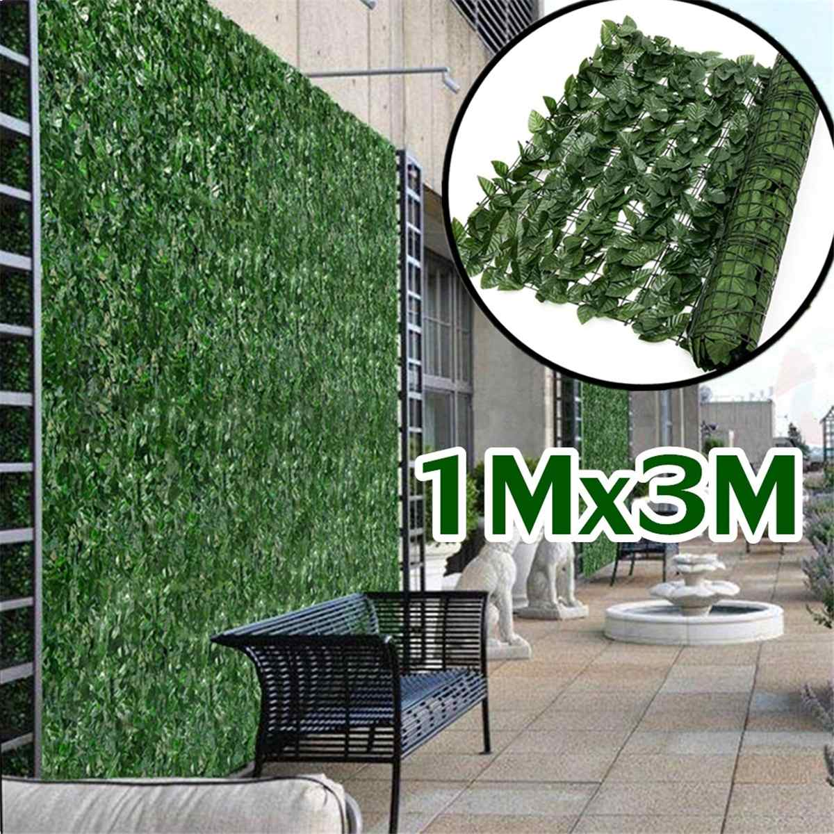 Plant Wall Artificial Lawn Boxwood Hedge Garden Backyard Home Decor Simulation Grass Turf Rug Lawn Outdoor Flower Wall 1x3M
