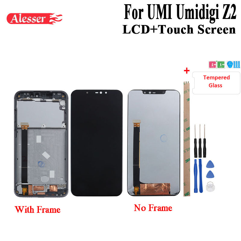 Alesser pour UMI Umidigi Z2 écran LCD et écran tactile avec cadre ensemble avec outil et adhésif + Film 6.2