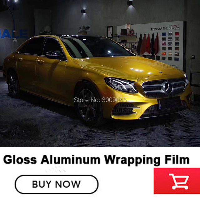 High end gold Glossy metallic Vinyl Wrap Film With Air Free Bubble Candy  Gloss Car Covering Style Size 1 52*20m/Roll