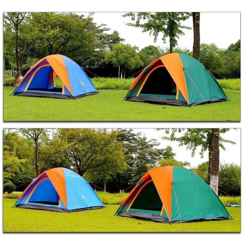 3-4 personne Double couche Camping tente avec Double porte extérieure imperméable auvent tente 200x180x140 cm pour pêche Camping fête - 4
