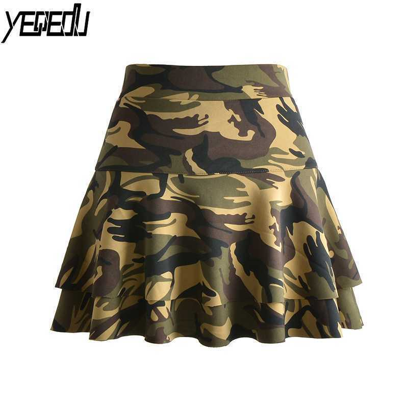 0210 Double Layer Saia With Shorts Skirts Women Camouflage High Waist Ruffle Skirts Falda Mujer Plus Size Skirts Womens M 4XL in Skirts from Women 39 s Clothing