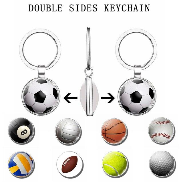 Fútbol baloncesto tenis voleibol pelota deportes doble cara llavero cristal cabujón joyería colgante llavero mujeres hombres regalos