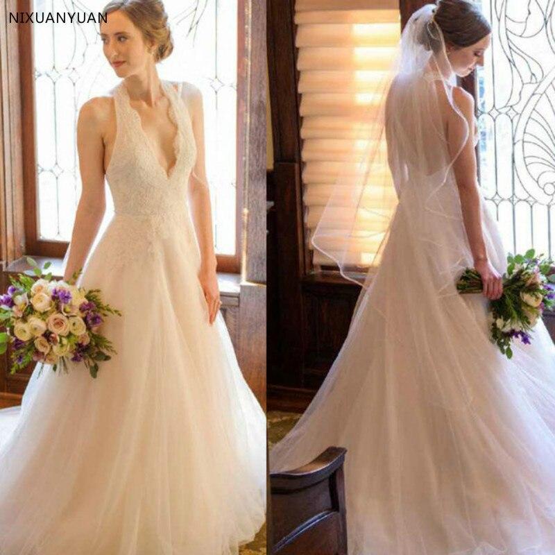 Rêve Simple pas cher chine longue ivoire licou Tulle Court Train une ligne princesse robe de mariée avec dentelle 2019