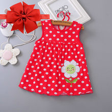 Free Shipping Summer 2018 New Explosion of Baby Girls Cotton Floral Dresses 100% Cartoon Kids Doll Princess Dress + Headband(China)