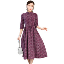 Spring Summer Stand Collar Women Vintage Cotton Linen Dress Floral Print Half Sleeve Dresses Party Vestido