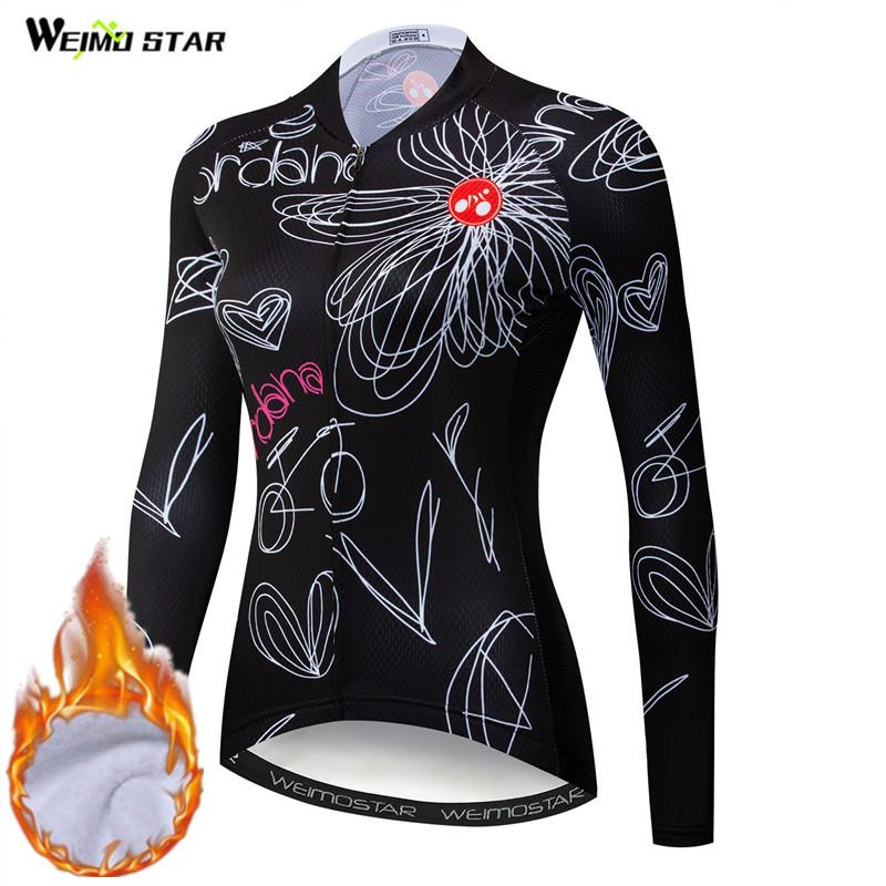 Weimostar Winter Long Sleeve Women Cycling Jersey MTB Road Bike Thermal Jacket Pro Team Female Bicycle