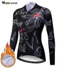 Weimostar inverno manga longa camisa de ciclismo das mulheres mtb bicicleta estrada jaqueta térmica pro equipe feminino roupas ciclismo camisa