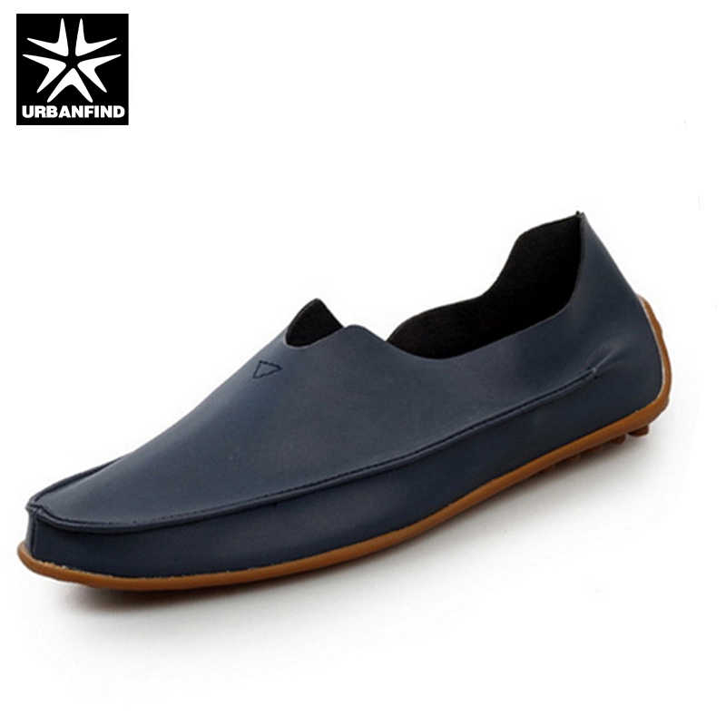 URBANFIND Men Fashion PU Loafers Leather Casual Shoes Large Size EU 39 47 Slip on Man Flat Driving Shoes Black Blue Beige