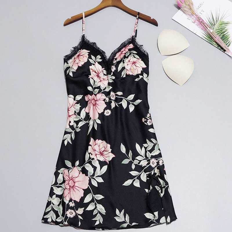 2e621439796f7 New Sexy Women's Floral Satin Silk Lace Nightgowns Paddad Push-Up Lingerie  Pajamas Nightdress Sleepwear