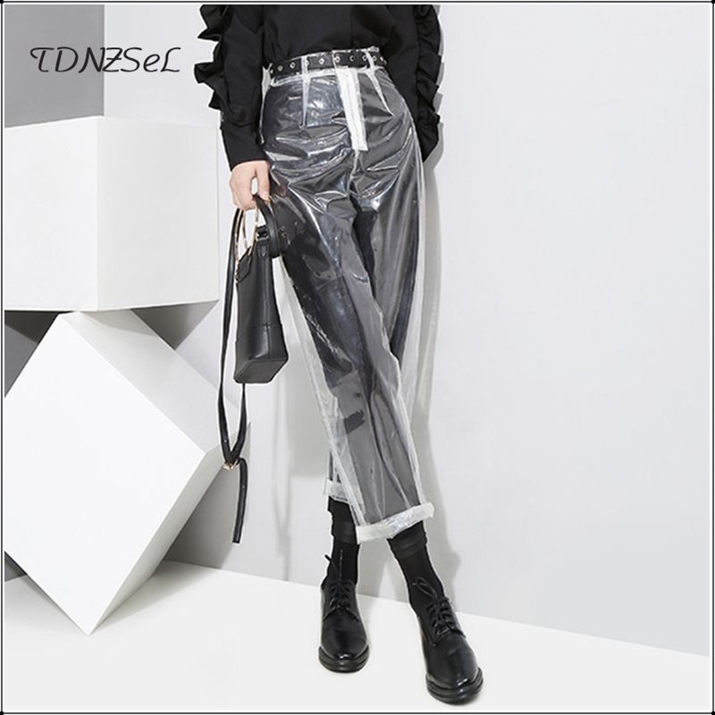 New Arrival 2019 Sexy Loose PVC Transparent   Pants   Women Fashion See Through Trousers Autumn Winter Straight Ankle-length   Capris