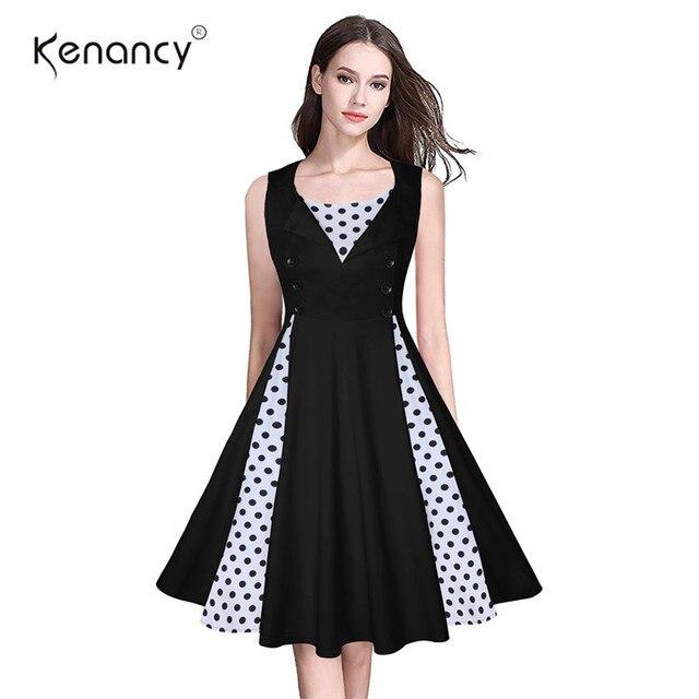 3192505fd Kenancy 4XL Plus Size Vintage Sleeveless Dress With Button Women Polka Dot  Floral Print Swing Party Dress A-Line Elegant Dress