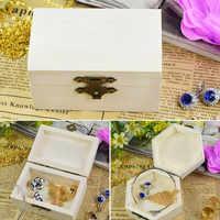 1 Uds organizador multifunción de postales cajas de almacenamiento artesanales hechas a mano hexágono/caja de madera Vintage con forma de rectángulo