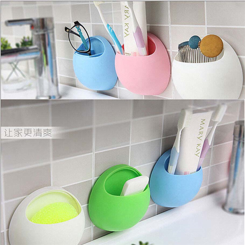 1Pc Home Bathroom Toothbrush Toothpaste Wall Mount Holder Sucker Suction Organizer Cup Rack Holders Creative Bathroon Product image
