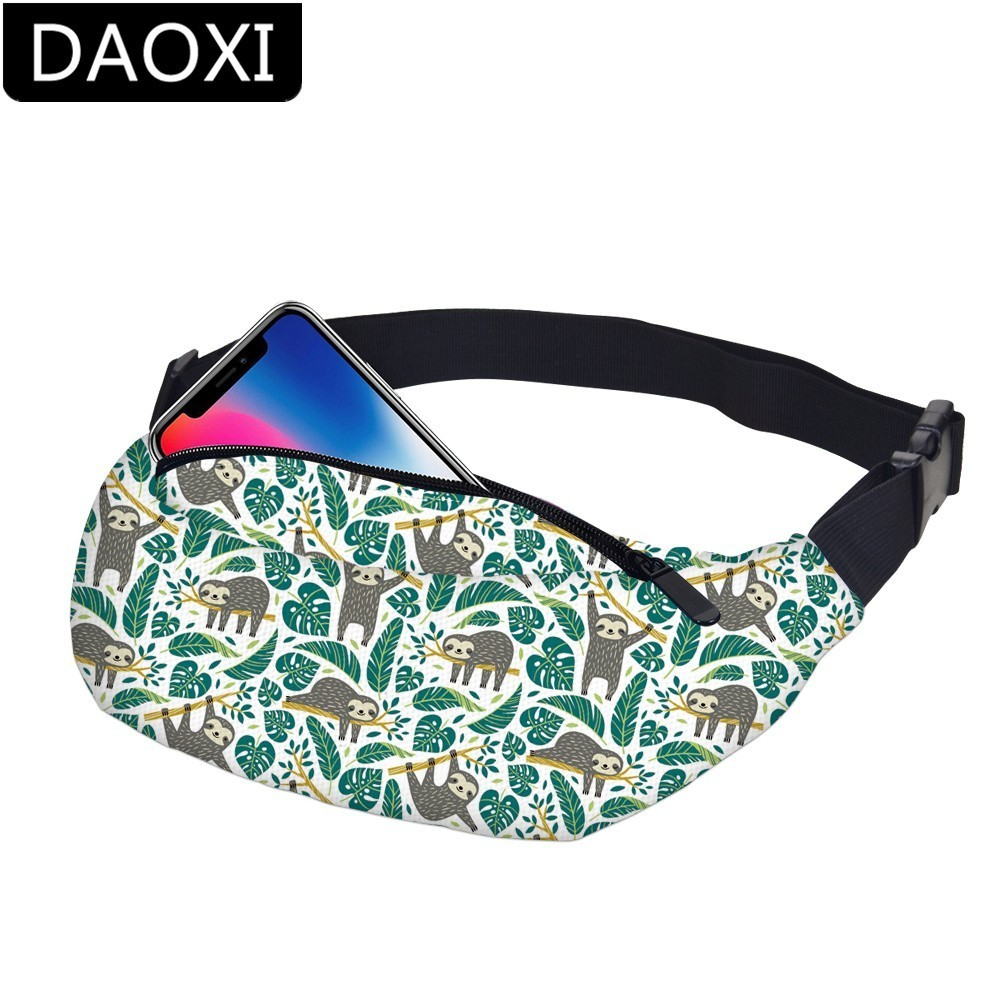 DAOXI Waterproof Sloth Fanny Pack Female Turtle Leaf Waist Pack Men Money Bag Adjustable Belt Phone Holder Dropshipping YB-44