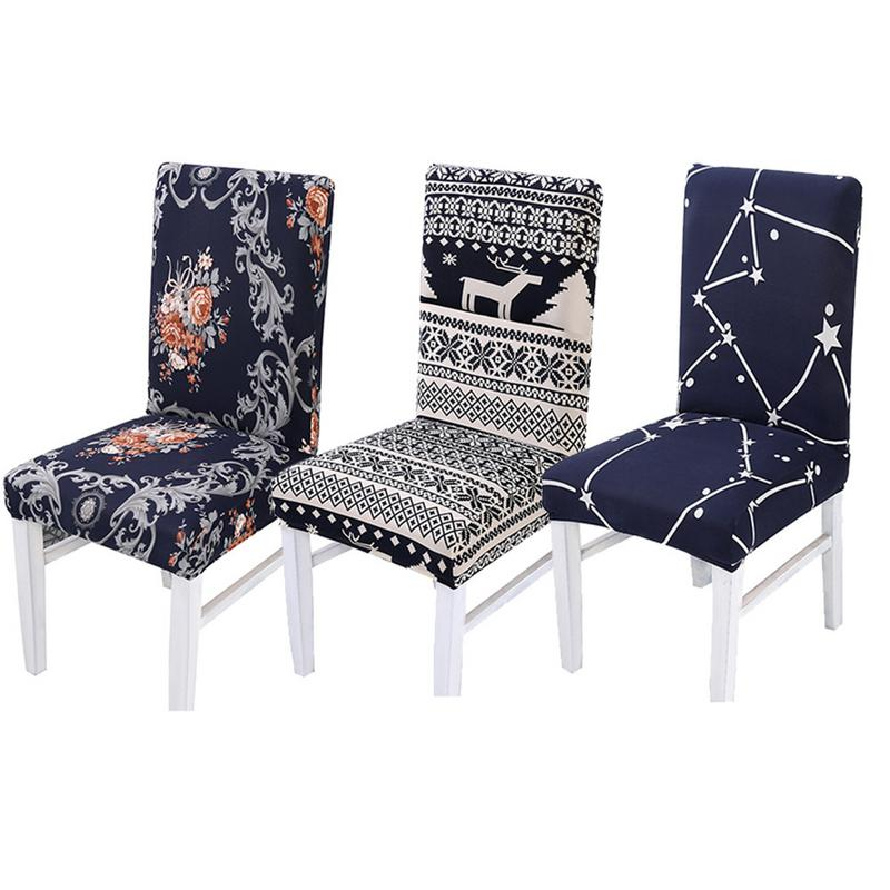5PCFlower Printing Removable Chair Cover Stretch Elastic Slipcovers Restaurant For Weddings Banquet Folding Hotel Chair Covering