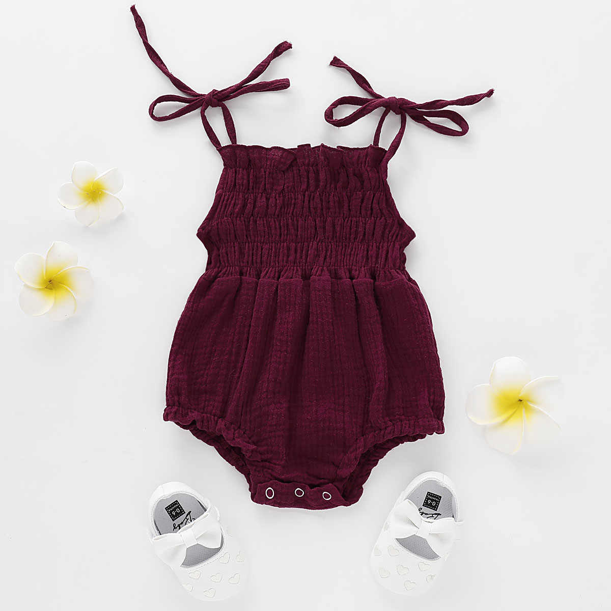 Été nouveau-né bébé fille sangle barboteuse sans manches ceinture solide combinaison tenue vêtements 0-18M 3 couleurs