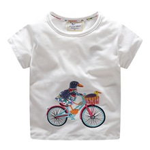 2019 summer children t shirts cartoon Parrot bicycle applique kids t shirts birthday short sleeve T-shirts for girls boys 2-7Y