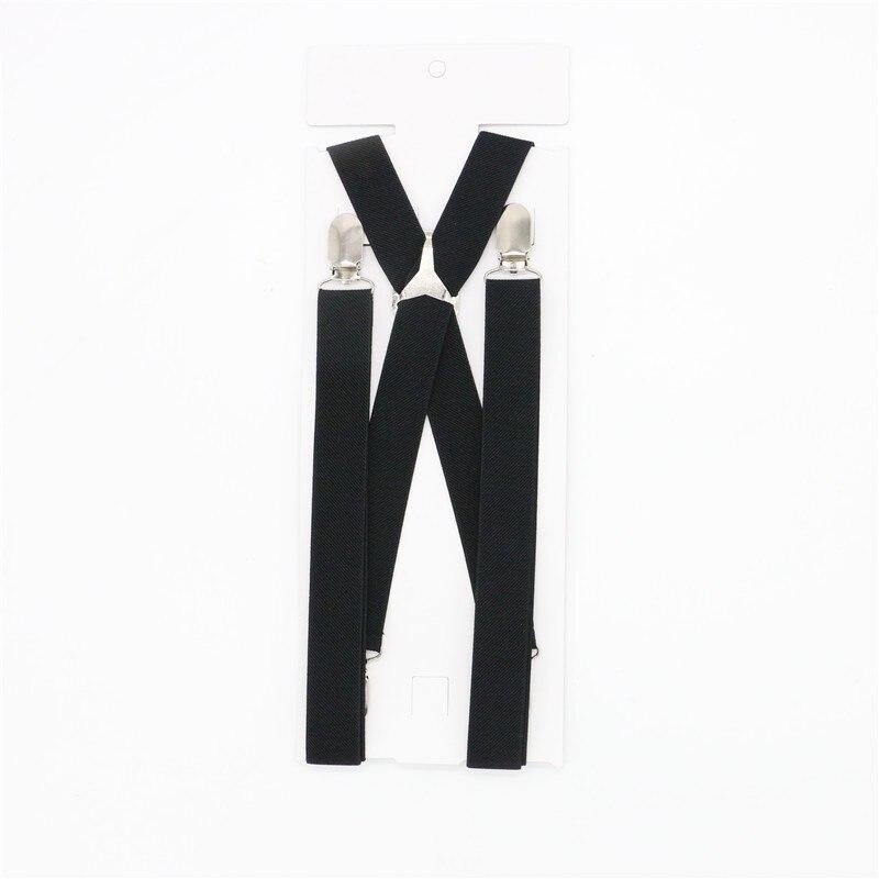 4 Clips Solid Men's Suspenders 2.5cm Width Women's Pants With Adjustable Suspenders Triangle Metal Cross