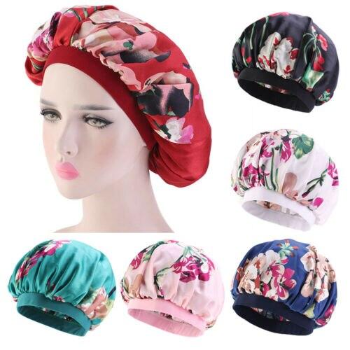 Women Floral Print Sleeping Cap Hat Hair Care Chemo Wrap Satin Bonnet Night Caps