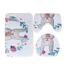 3pcs Set Toilet Bath Mat Cartoon Bathroom Set Mat Toilet Rugs Cute Rabbit Animal Pattern Suede Anti-slip Toilet Cover Bath Sets цена 2017