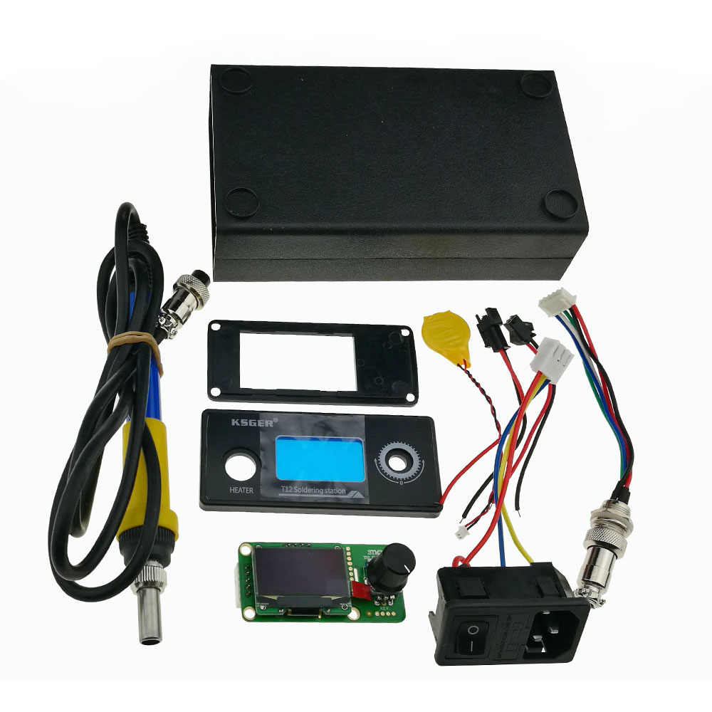 Ksger v2.1s stm32 oled 1.3 크기 화면 t12 디지털 온도 배터리 컨트롤러 5 코어 실리콘 와이어 9501 납땜 핸들 세트