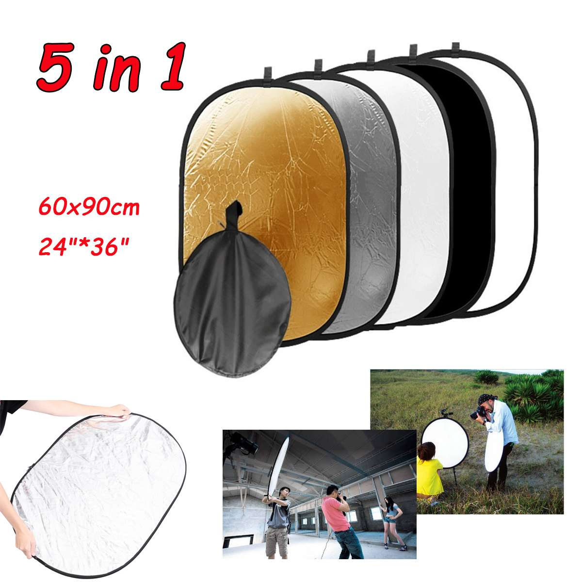5 In1 Reflector Photography Studio Photo Oval Collapsible Light Reflector Portable Photo Disc Diffuser 24*36inch 60x90cm