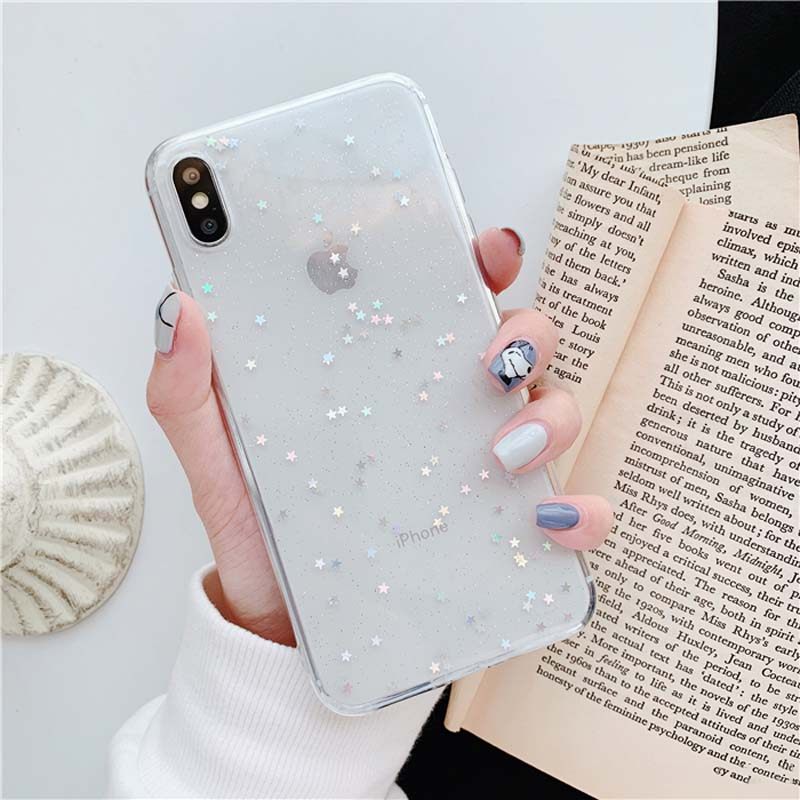 Lovebay Bling Star Glitter Soft TPU Phone Cases For iphone 11 Pro XS Max XR X 8 7 6 6S Plus 5S SE Shine Powder Transparent Cover