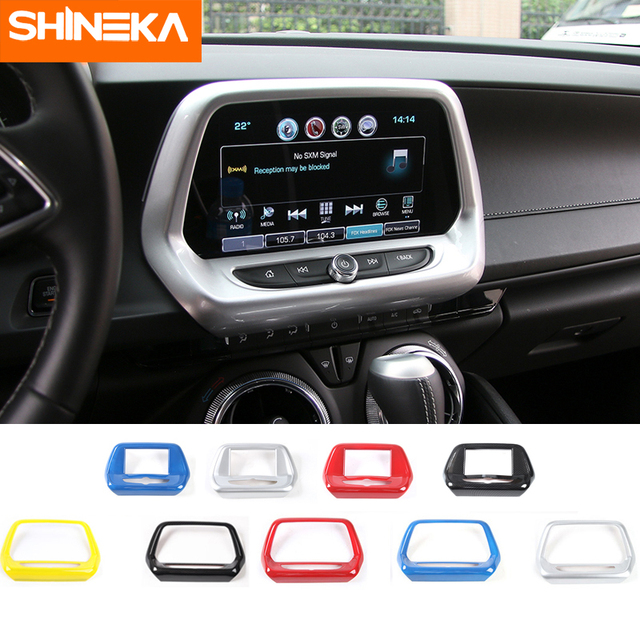 SHINEKA Interior Mouldings for Chevrolet Camaro 2017 Up 7 8 inch Navigation Screen GPS Panel Decoration Frame Cover Sticker
